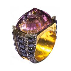 Sevan Biçakçi 18ct gold and carved-amethyst ring with diamonds