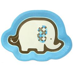 Blue Baby Elephant - Baby Shower Dinner Plates - 8 ct | BigDotOfHappiness.com