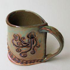 Octopus Pottery Mug Coffee Cup Handmade Functional Tableware Microwave and Dishwasher Safe Coffee Cups, Tea Cups, Pottery Mugs, Ceramic Cups, Octopus, Crock, Microwave, Dishwasher, I Shop