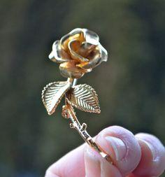 GOLD ROSE BUD Brooch Vintage Brushed Gold Rose Bud Designer Brooch