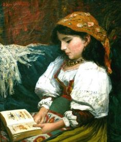 """Gypsy Girl Reading"" / Silas Jerome Uhl (1842-1916)"