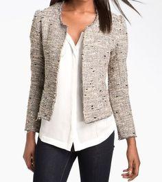 Rory Beca Tweed Grey, Black, White, Metallic Blazer, size Medium. Originally $280, for sale on Tradesy for $120!