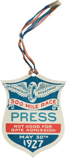 1927 Indianapolis 500 Press Pass.