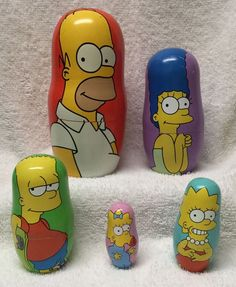 The Simpsons Nesting 5 Doll Set Family Matryoshka Stacking Wood Homer Marge Kids | eBay