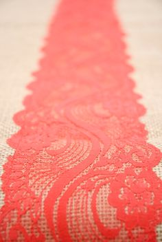 "Beach Orange, Coral Red, Vermillion,  Lace, Burlap Runner 12""x108"".  Country, Preppy,  Beach Wedding, or  Indian Wedding"