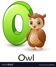Letter o is for owl cartoon alphabet Royalty Free Vector Nursery Worksheets, Abc Worksheets, English Worksheets For Kids, Flashcards For Toddlers, Activities For Kids, Learning English For Kids, Alphabet Pictures, School Labels, Teaching The Alphabet