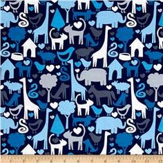 Michael Miller Safari Friends Animal World Blue