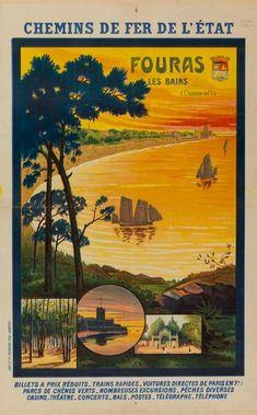 Chemins de fer de l'Etat. Fouras les Bains (Charente inf.) ... : [affiche] Trains, Excursion, Parcs, Paths, Iron, Event Posters, Train