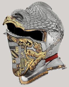 Ancient to Medieval (And Slightly Later) History - Ceremonial Helmet of King Charles V c. Helmet Armor, Suit Of Armor, Arm Armor, Armadura Medieval, Medieval Knight, Medieval Armor, Samurai, Ancient Armor, Holy Roman Empire