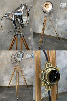 A bespoke mid century industrial British teak tripod floor lamp. This tall floor standing tripod lamp comprises a British made cast aluminium cargo light and E.R Watts & Sons of London Surveyors Tripod dating from the 1940s. The aluminium lamp is reclaimed and has been professionally adapted to fit onto a vintage bronze and teak timber tripod to create a bespoke tripod floor lamp. The lamp head is controlled with a polished cast brass rotary switch mounted to one of the tripod legs. Global… Industrial Floor Lamps, Industrial Lighting, Modern Lighting, Led Floor Lamp, Tripod Lamp, 1940s, Teak, Photography Themes, Mid Century