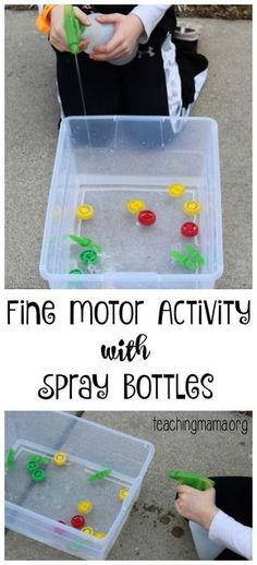 Fine Motor Activity with Spray Bottles