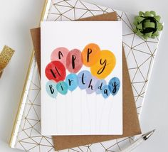 Happy birthday card, balloon card, birthday card for all ages – simple birthday card – red yellow blue happy birthday card from Katy Pillinger - Birthday Presents Simple Birthday Cards, Diy Birthday, Valentine Day Cards, Valentine Day Gifts, Birthday Gifts, Valentines, Card Birthday, Balloon Birthday, Simple Gifts