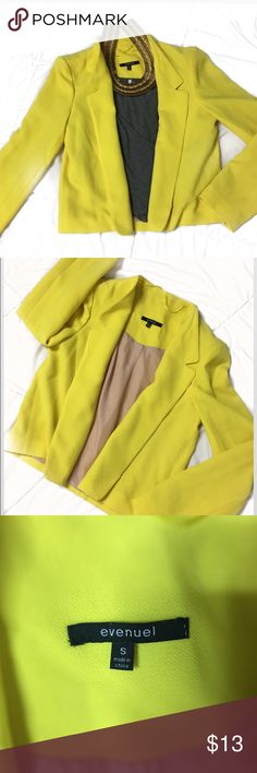 Banana yellow gorgeous blazer I love this blazer because you can style it in many ways. To go out with girlfriends. For a business trip and causal day. Material is really soft and comfortable I have worn this blazer a few times and got great feedback. 💛💛💛💛.                                                                      🛍Bundle Discount.                     📦ship within 2 days evenuel  Jackets & Coats Blazers