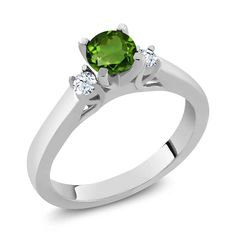 0.66 Ct Round Green Chrome Diopside White Topaz 925 Sterling Silver Ring ** Review more details here : Jewelry Rings