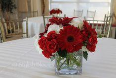 Red wedding Centerpiece By Stylish Blooms Red Wedding Centerpieces, White Centerpiece, Red Bouquet Wedding, Purple Wedding Flowers, Purple Roses, Floral Centerpieces, White Flowers, Beautiful Flowers, Wedding Decorations