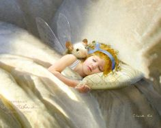 Sleepytime Cuddles .. Fairy Print Mounted or unmounted or two sizes of plaques to choose from-All signed By Charlotte Bird
