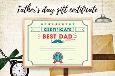 Father's day gift certificate by Peliken on @creativemarket