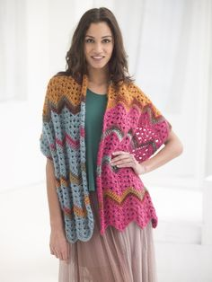 Vintage Ripple Shawl (Crochet) - Patterns - Lion Brand Yarn