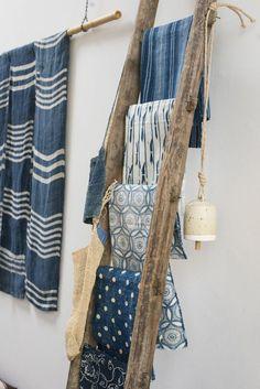 Fabric Display, Denim Display, Shibori, Store Design, Ladder Decor, Wooden Ladder, Home Accessories, Clothing Accessories