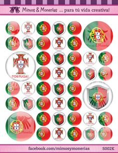 """Portugal 2014 FIFA World Cup Flags Bottle Cap Images 1"""" Circles - 8.5"""" x 11"""" Digital Collage Sheet - Buy 1 Get 1 FREE of another Country"""