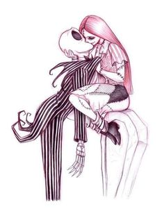 Tim Burton with Jack and Sally from The Nightmare Before Christmas. Arte Disney, Disney Art, Jack Skellington, Desenhos Tim Burton, Film Anime, Jack And Sally, Corpse Bride, Geek Art, Princesas Disney