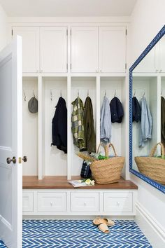 Charming blue and white mudroom