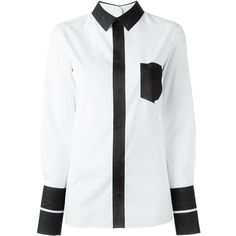 Maison Margiela colour block shirt (1.385 BRL) ❤ liked on Polyvore featuring tops, white, white long sleeve top, long sleeve cotton tops, white cotton shirt, long sleeve tops and colorblock long sleeve shirt
