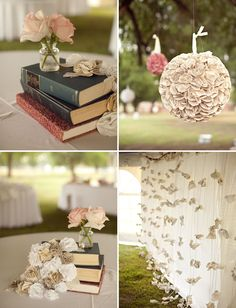 Book stacks for centerpieces.