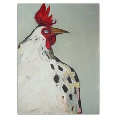 Rooster in Gray - Eli Halpin's Glass Cutting Boards - Printfection.com $49.99