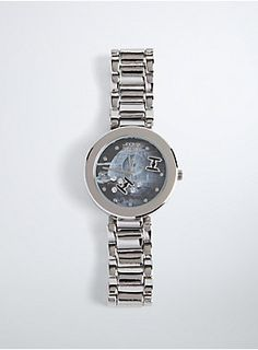 "<p>You'll never have to use the ""I traveled from a long time ago in a galaxy far, far away"" excuse again. A super cool Death Star graphic lights up this silver tone watch, while free-floating gemstones and TIE fighter charms have us feeling the force.</p>  <ul> 	<li>9"" long</li> 	<li>Base metals</li> 	<li>Imported</li> </ul>"