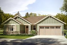 Craftsman Style House Plan - 3 Beds 2 Baths 1819 Sq/Ft Plan #124-1030 Exterior - Front Elevation - Houseplans.com