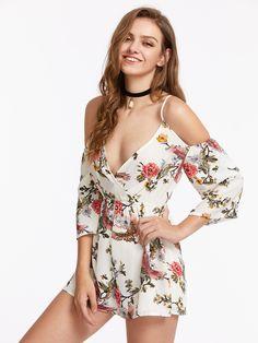 6c1e07f108f Shop Cami Straps Floral Warp Playsuit online. SheIn offers Cami Straps  Floral Warp Playsuit
