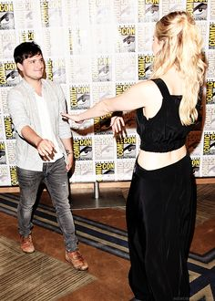 "Josh Hutcherson and Jennifer Lawrence at ""The Hunger Games: Mockingjay Part 2"" Presentation at Comic Con on Thursday, July 9, 2015, in San Diego."