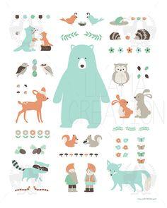 Woodland Animal Poster | LlamaCreation
