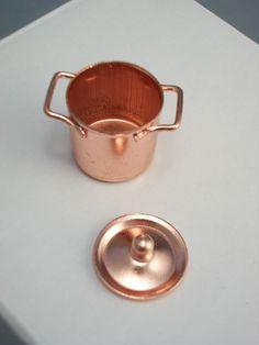 1:12 Dollhouse miniature bronze frying pan pot kettle cooking  Wv PL
