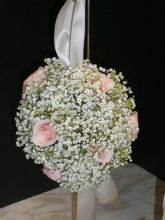 Kim and Company--Baby's Breath Pomander Balls with Roses