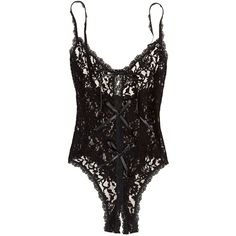 Hanky Panky Signature Lace Open Panel Teddy Bodysuit ($78) ❤ liked on Polyvore featuring intimates, shapewear, bodysuit, lingerie and black