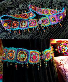 Transcendent Crochet a Solid Granny Square Ideas. Inconceivable Crochet a Solid Granny Square Ideas. Bracelet Crochet, Crochet Belt, Mode Crochet, Crochet Diy, Crochet Crafts, Crochet Projects, Crochet Hippie, Boho Crochet Patterns, Point Granny Au Crochet