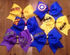 Super Hero Cheer Bow on Etsy, $12.00  For girls who love superheroes or name their dog Batman.