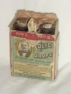 antique Dr Daniels veterinarian horse medicine bottles with original coupons and flier in box No. 1 & 2.