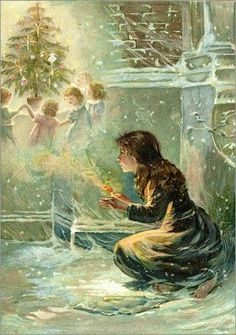 Fairy Tales of Hans Christian Anderson 1906 The Little Match Girl Canvas Art - Evelyn S Hardy x The Little Match Girl, Andersen's Fairy Tales, Girl Posters, Fairytale Art, Hans Christian, Children's Book Illustration, Christmas Art, Rwby, Art Girl
