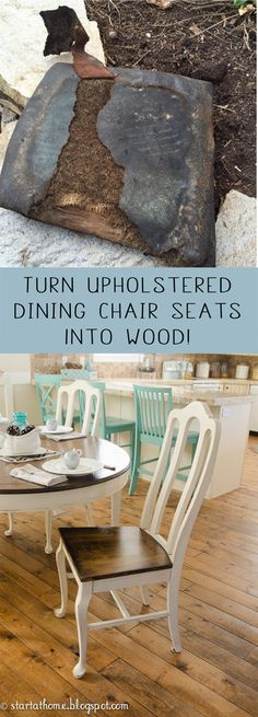Turn upholstered dining chair seats into wood
