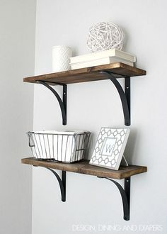 Rustic DIY Bathroom Shelving - Love these! Great for a small bathroom. designdininganddiapers.com