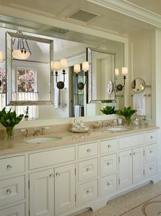 all the king's houses & all the king's men | Lovely vanity area in bathroom, mirror on mirror & sconces.
