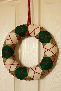 DIY argyle Christmas wreath tutorial. Also do fall, spring colors..