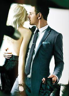 Michael Fassbender #suit #menswear -  um, yeah ...  she's grabbing his package!