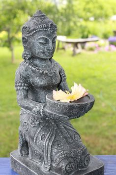Our Dewi Sri Goddess Garden Statue Is Kneeling With An Offering Bowl U0026  Beautifully Adorned In