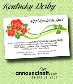 The Stylized Red Roses Derby Party Invitations features roses with a fresh, modern look and are a fun way to invite your guests to join you in sampling southern fare, mint juleps and of course, watching the Kentucky Derby race. | See our entire collection of unique Kentucky Derby Party Invitations at Announcingit.com