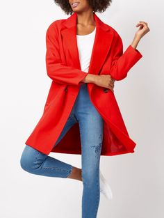 Breathe new life into your seasonal layering pieces with the coat of this season. In a red hue with contrast buttons and 2 front pockets, this double-breaste. Double Breasted Coat, Asda, Hue, Duster Coat, Winter Fashion, Blazer, Sweaters, Jackets, Autumn
