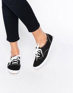 Keds   Keds Champion Canvas Black & White Plimsoll Shoes